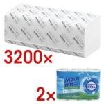 3200 Blatt Papierhandtücher inkl. 2 Pack Küchenrollen