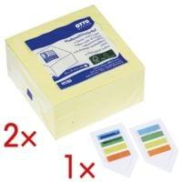 OTTO Office 2x Haftnotizwürfel gelb 75x75 mm 400 Blatt inkl. 1x 2er-Pack Haftstreifen »Lesezeichen«