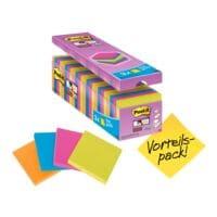 21+3 Post-it Super Sticky Haftnotizblock Notes 7,6 x 7,6 cm, 2160 Blatt gesamt, farbig sortiert