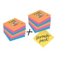 9+3 Post-it Super Sticky Haftnotizblock Notes 7,6 x 7,6 cm, 1080 Blatt gesamt, farbig sortiert