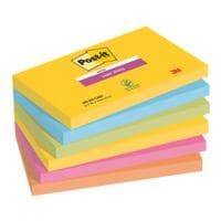 6x Post-it 7,6 x 12,7 cm Super Sticky »Rio de Janeiro« Haftnotizblock, 540 Blatt gesamt, farbig sortiert 6556SR