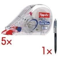 5x Tipp-Ex Einweg-Korrekturroller Mini Pocket Mouse, 5 mm / 6 m inkl. Kugelschreiber »4 Colours Grip Pro«