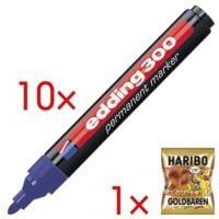 10x edding Permanent-Marker 300 - Rundspitze, Strichstärke 1,5  - 3,0 mm (XB) inkl. Fruchtgummi »Goldbären«