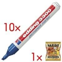 10x edding Permanent-Marker 3300 - Keilspitze, Strichstärke 1,0  - 5,0 mm (XB) inkl. Fruchtgummi »Goldbären«