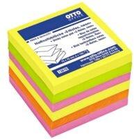 6x OTTO Office Haftnotizblock Z-Notes 7,5 x 7,5 cm, 600 Blatt gesamt, farbig sortiert, Z-Faltung