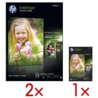 HP 2 Pack Fotopapier »HP everyday photo paper« inkl. 1 Pack Fotopapier »HP everyday glossy paper«