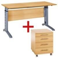 Möbelpartner Möbel-Set »Rom« 2-teilig, Schreibtisch mit C-Fuß