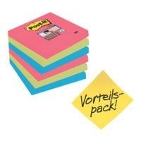 5+1 Post-it Super Sticky Haftnotizblock Bora Bora 7,6 x 7,6 cm, 540 Blatt gesamt, farbig sortiert