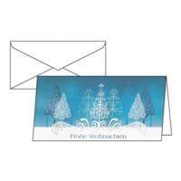 Weihnachtskarte SIGEL Blue Trees, DIN lang, mit Umschlag, 10 Stück