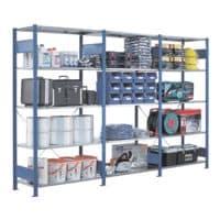 SCHULTE Lagertechnik Steckregal - Grundregal, 100 x 40 x 250 cm, verzinkt/blau