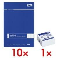 10x OTTO Office Briefblock, kariert inkl. Haftnotizwürfel weiß 75x75 mm 400 Blatt