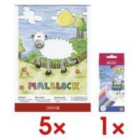 Brunnen 5x Malblock inkl. 12er-Pack Holz-Buntstifte