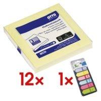 12x OTTO Office Haftnotizblock 7,5 x 7,5 cm, 1200 Blatt gesamt, gelb inkl. Haftmarker 150 Blatt gesamt, Papier, 50 x 18 mm