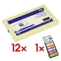 12x OTTO Office 12,5 x 7,5 cm, 1200 Blatt gesamt, gelb inkl. Haftmarker 150 Blatt gesamt, Papier, 50 x 18 mm