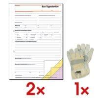 Sigel 2x Formularbuch »Bautagebuch« SD063 inkl. Arbeitshandschuhe Leder XL