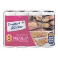 Saugstark & Sicher Küchenrollen 3-lagig, 4 Rollen »Premium«