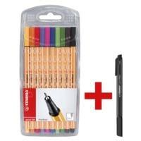 STABILO Fineliner-Set point 88® Kreativ (10er-Etui), 0,4mm inkl. Filzschreiber »pointMax schwarz« GRATIS