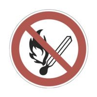 Sicherheitskennzeichen »Feuer, offenes Licht und Rauchen verboten [P003]« Ø: 10 cm