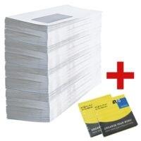 Briefumschläge, DL 75 g/m² mit Fenster - 1000 Stück inkl. Haftnotizblock 75 x 75 mm, kariert + Haftnotizblock 75 x 75 mm, liniert