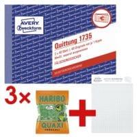 Avery Zweckform 3x Formularbuch »Quittung, MwSt. separat mit Netto-Brutto« inkl. Musterblock »Notizio« und Fruchtgummi »Quaxi Fröschli«