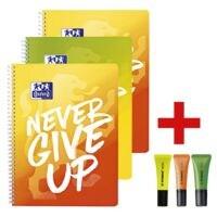 3x Oxford Collegeblock Never give up A4+ kariert, 80 Blatt inkl. 3x Textmarker »NEON«, gelb/orange/grün