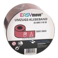 Loer & Schäfer Packband EasyMove® Deko XMAS rot, 50 mm breit, 40 Meter lang