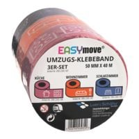 Loer & Schäfer Umzugs-Klebeband Set EasyMove® Wohnzimmer / Schlafzimmer / Küche pink / orange / blau, 50 mm breit, 40 Meter lang