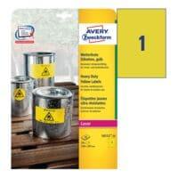 Avery Zweckform Wetterfeste Folien-Etiketten gelb 210 x 297 mm »L6111-20«