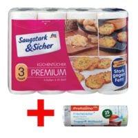 Saugstark & Sicher Küchentücher 3-lagig, 4 Rollen »Premium« inkl. 25 Tragegriff-Müllbeutel »Frischezauber« 25 L weiß