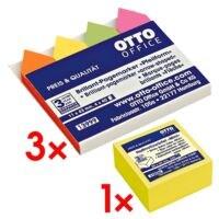 3x OTTO Office Pfeilform 43 x 11 mm inkl. Haftnotizwürfel 50x50 mm »Mini« brilliantgelb