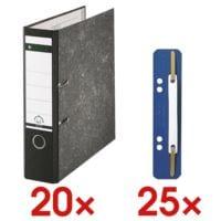 20x Ordner A4 LEITZ 1080 breit, Wolkenmarmor mit schwarzem Rücken inkl. 25er-Pack Kunststoff-Heftstreifen »3710«