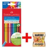 Faber-Castell (Schule) 12er-Pack Buntstifte »Colour-GRIP« inkl. Fruchtgummi »Goldbären«