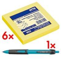 6x OTTO Office Z-Notes 7,5 x 7,5 cm, 600 Blatt gesamt, brilliantgelb inkl. Kugelschreiber »uni-ball Powertank SN-220«