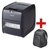 Aktenvernichter Rexel Auto+ 90X, Sicherheitsstufe 3, Partikelschnitt (4 x 45 mm) bis 90 Blatt inkl. Laptoprucksack »Contour™ 2.0«