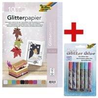 folia Glitterpapier, 10 Farben inkl. 6er-Set Glitzerkleber »Spiral«