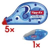 5x Tipp-Ex Einweg-Korrekturroller Pocket Mouse, 4,2 mm / 10 m inkl. Einweg-Korrekturroller »Soft Grip«