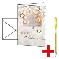 Weihnachtskarte SIGEL Glowing Christmas Tree DS 056, A6, mit Umschlag, 10 Stück inkl. Gelroller »SIGNO UM-120SP«