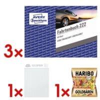 Avery Zweckform 3x Fahrtenbuch »222« (A6 quer) inkl. Fruchtgummis »Goldbären« und Musterblock »Notizio«