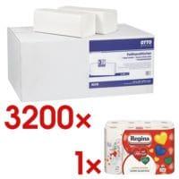 Papierhandtücher OTTO Office 2-lagig, hochweiß, 25 cm x 23 cm aus Tissue mit Z-Falzung - 3200 Blatt gesamt inkl. Küchenrollen 8er-Pack
