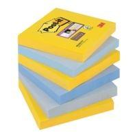 6x Post-it Super Sticky Haftnotizblock Notes 7,6 x 7,6 cm, 540 Blatt gesamt, farbig sortiert