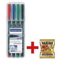 STAEDTLER Universalstift Lumocolor permanent - Rundspitze inkl. Fruchtgummi »Goldbären« 200 g