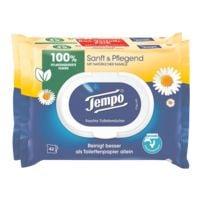 Tempo Doppelpack Feuchtes Toilettenpapier Sanft & Pflegend 1-lagig, weiß - 2x42 Blatt