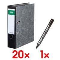 20x Ordner A4 OTTO Office Classic breit, Wolkenmarmor inkl. Permanent-Marker »SCA-100«