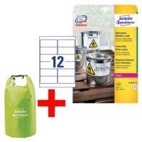 Avery Zweckform Wetterfeste Folien-Etiketten 99,1 x 42,3 mm »L4776-20« inkl. Wasserdichter Seesack »15 Liter«