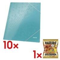 Leitz 10x Eckspannermappe A4 »WOW 3982« inkl. Fruchtgummi »Goldbären« 200 g