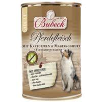 BUBECK Nassfutter mitPferdefleisch, Kartoffeln, Magerjoghurt und Flohsamenschalen (1 x 400 g)