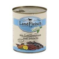 LandFleisch Nassfutter »Pur«  mit Geflügelherzen, Seelachs und Frischgemüse (1x 800 g)