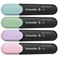 4x Schneider Textmarker Job Pastell, Keilspitze
