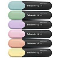 6x Schneider Textmarker Job Pastell, Keilspitze