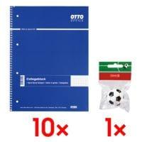 10x OTTO Office Collegeblock A4 kariert, 80 Blatt inkl. Radierer »Fußball«